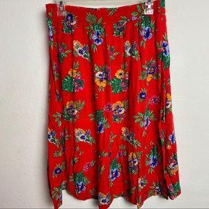 Old Navy Hawaiian Floral Midi Skirt